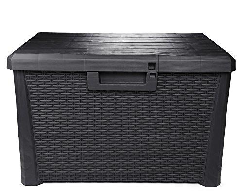 Ondis24 Kissenbox Nevada kompakt Auflagenbox Gartenbox Allzweckbox Sitztruhe 120 Liter (anthrazit)
