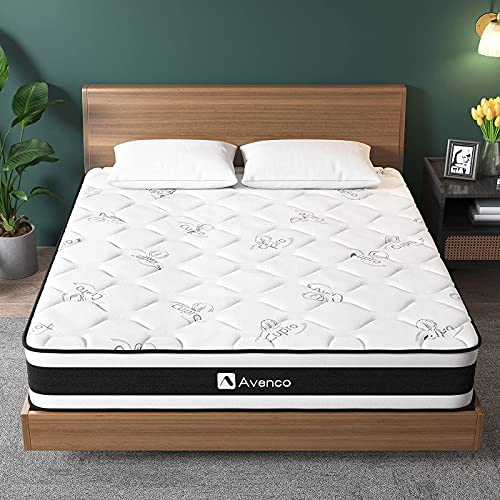 Avenco King Size Mattress, Sound Proofing Foam and Pocket Sprung Mattress, Edge Support, 5ft Mattress King Size, 20cm Height Hybrid Mattress, Pressure Relieving