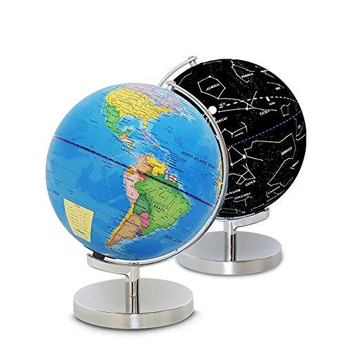 Globo Terráqueo 10 Inch Education World Globe Fashion Creative Glowing World Globe Unique 2 in 1 Day and Night Globe es muy adecuado for la decoración del escritorio de la oficina en el hogar para el