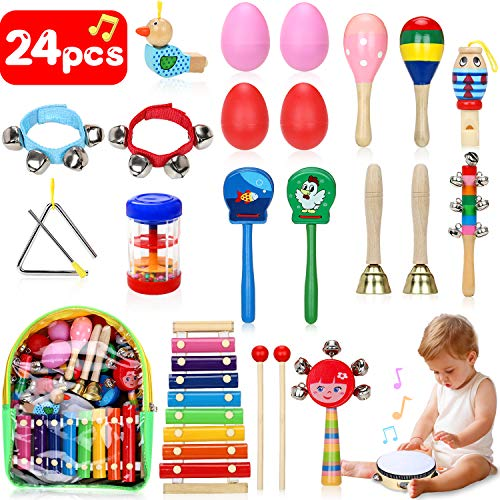 Jojoin Toddler Musical Instruments, 24Pcs Wooden Percussion Instruments Toys Set with Storage Backpack,Tambourine, Maracas, Castanets etc. Early Education Musical Toys for Boys and Girls