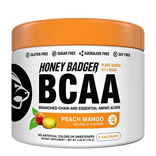 Honey Badger Vegan Keto BCAA + EAA Electrolyte Powder | Peach Mango | Natural Gluten Free Amino Acids Essential Aminos Sugar Free + Sucralose Free | 30 Servings