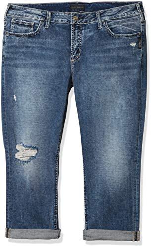 Silver Jeans Co. Women's Plus Size Elyse Curvy Fit Mid Rise Capri Jeans, Power Stretch Medium, 16W
