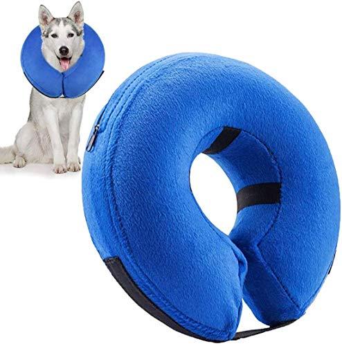 AeeYui Collar de Recuperación Inflable para Perros, Cono de Cuello Isabelino Ajustable, Collar de Recuperación para Mascotas, Collarines para Curar Heridas,Collar Anti Mordida para Perros y Gatos(S)