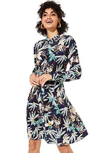 comma Casual Identity Damen Hemdblusenkleid aus Krepp mit Buntem Floralmuster Marine Flowers with Leo 36