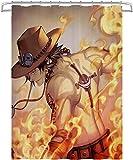 Visionpz Wasserdichter Duschvorhang One Piece Fire Fist Ace Wasserfester, schnell trocknender Badewannenvorhang aus Polyestergewebe Waschbarer Badevorhang mit 12 Haken 150x180cm