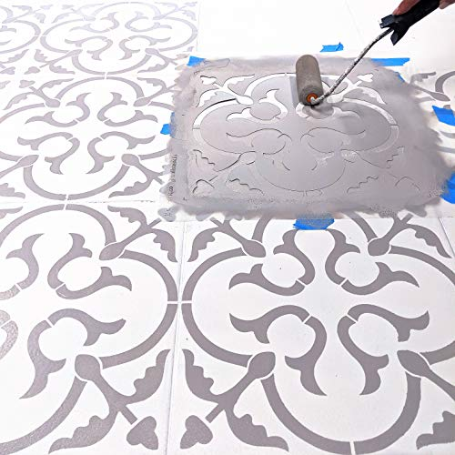 STENCILIT Scandinavian Tile Stencil for Painting Floors - Repositionable for a 18x18 Tile - Large Floor Stencils for Painting - Stencil Concrete Patio