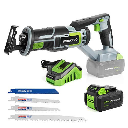 WORKPRO Cordless Reciprocating Saw, 20V 4.0Ah Battery, 1-inch Stroke Length, 4 Saw Blades for Wood & Metal Cutting Included