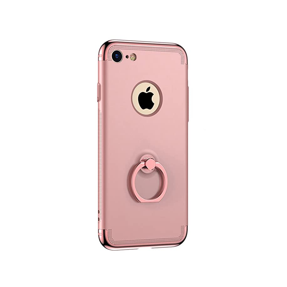 iPhone 7 7Plus Case, 3 in 1 Slim Hard Protective Slider Case 360 Degree Ring Phone Stand Cover