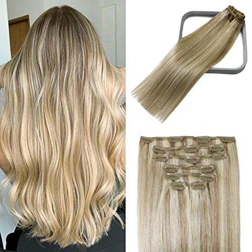 WindTouch Clip in Hair Extensions Human Hair Balayage Mixed Bleach...