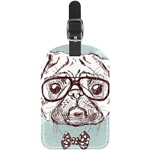 Etiquetas de Equipaje con diseño de Perro Carlino Hipster con Gafas y Lazo de Piel para Maleta de Viaje, 1 Paquete