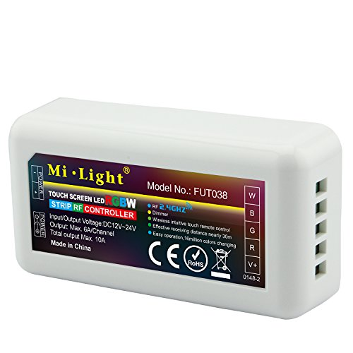 LIGHTEU®, 2,4 GHz Wireless WiFi-Steuer LED RGBW Streifen Controller WLAN 12-24 V max. Ausgang 10A, Milight Miboxer FUT038