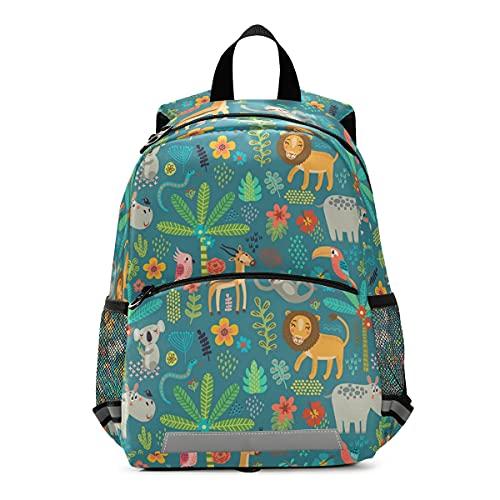 ISAOA - Mochila con riendas para niños y niñas, animales de la selva para niños, mochila para guardería, bolsa de viaje con clip para el pecho