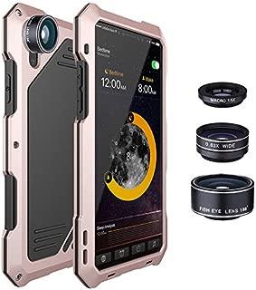 Liebeye スマホカバー スマホケース iphonex用 3つのカメラレンズ付き 防水 ショック防止 金属製 メタルケース バックカバー ローズゴールド iphonex用
