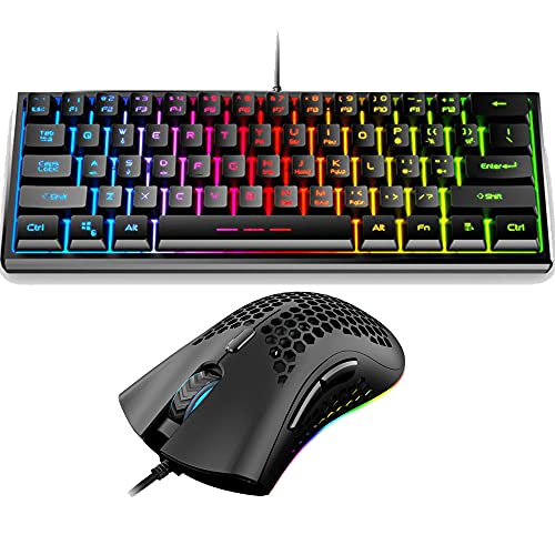 60% Mechanical Feel Gaming Keyboard and Mouse Combo,Mini Portable 61 Keys with Rainbow Backlit ,RGB Backlit 7200 DPI Lightweight Gaming Mouse for Windows PC Gamers (Black)