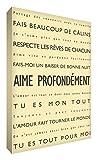 Feel Good Art Aime zutiefst Leinwand auf Rahmen Wandtattoo modernen Stil-/Typografischer, Crème, 91...