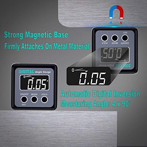 Angle Gauge, eOUTIL Digital Protractor/Inclinometer/Angle Finder Magnetic Base - Precision Level Box for Automobile, Woodworking, Building, Drilling Machinery, Masonry (Grey)