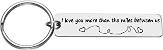 Personalized Engraved Custom I Love You More Than The Miles Between us Keychain Stainless Steel Key Ring for Driver Trucker Husband Boyfriend Valentines Gift