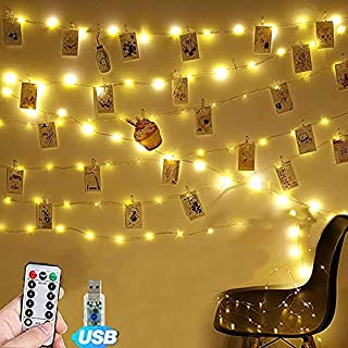 Photo Clip String Lights 17Ft - 50 LED Fairy String Lights with Remote,8 Modes Indoor String Lights for Hanging Photos Pic...