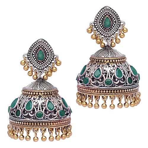 Aheli Tribal Muse Green Collection - Pendientes de jhumki hindú oxidados envejecidos, joyería tradicional de boda para mujer