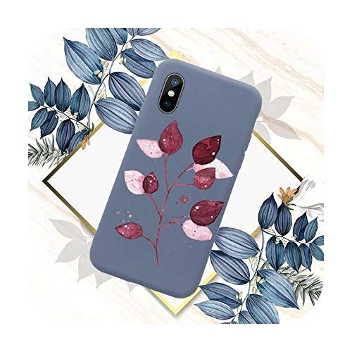 Funda para teléfono móvil con diseño de hojas, color azul caramelo para iPhone 11 12 Mini Pro XS MAX 8 7 6 6S Plus X SE 2020 XR-a5-iPhone12mini