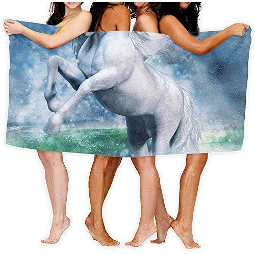 Niet van toepassing Fantasy Witte Pegasus Vliegen Over Een Meer bij Nigh Microfiber Badhanddoek Badkamer Handdoek Fade-Resistant Strandhanddoek Zacht