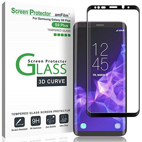 amFilm Vetro Temperato Pellicola Protettiva per Galaxy S9 Plus, Copertura Totale (Curva 3D) Protezione Schermo per Samsung Galaxy S9+ (Nero)