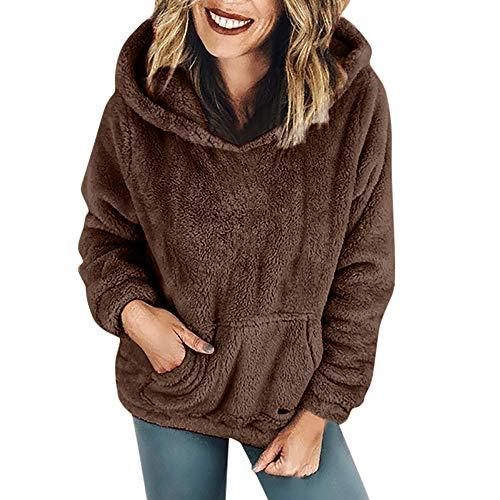 iHENGH Damen Winter Jacke Dicker Warm bequem Parka Mantel Kapuzenpulli Wolltaschen Baumwollmantel Outwear(EU-44/CN-M,Kaffee)