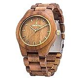 Men's Wooden Watch, Sentai Handmade Vintage Quartz Watches, Natural Wooden Wrist Watch (Olive Wood)