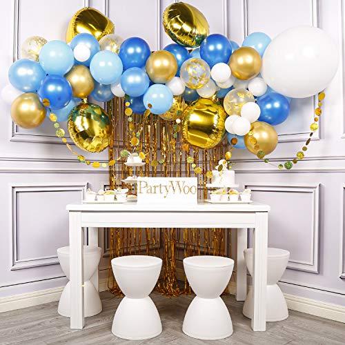 PartyWoo Globos Gorados y Azules, Globos Papel Dorado, Guirnalda de Puntos, Cortina de Flecos de Papel Dorado, Globo 4D Dorado, Globos Azules, Globos de Confeti para Decoraciones de Fiesta Azules Or