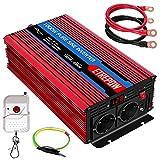 Inversor 12V 220v Onda Pura 1000W /2000W ETREPOW Convertidor de Voltaje con 2 Tomas UE y un USB de 2,1A, Mando a Distancia Inalámbrico, Pantalla Digital y 2 Ventiladores-Auto Transformador