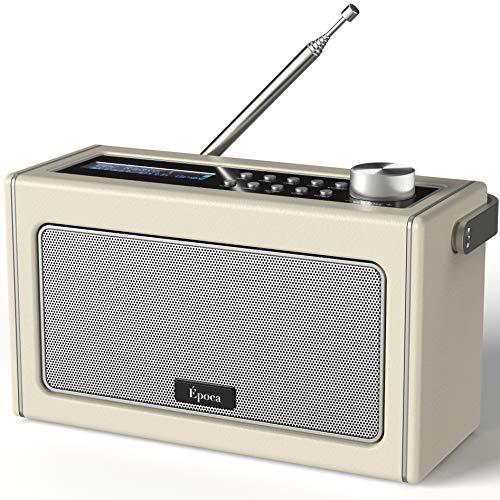 Radio Portatile DAB/DAB+ & FM con Bluetooth, Radio Digitale Vintage con Batteria Ricaricabile, Radiolina Portatile Riproduzione fino a 15 Ore, Uscita Cuffie
