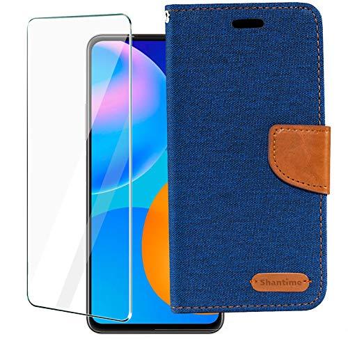 LYJERRY Vivo X51 5G Klapphülle + 1Pcs panzerglas für Vivo X51 5G Handyhülle Weicher TPU Aufstellfunktion Magnet Handyhülle mit Kartenfach, Lederhülle Klappbar, Oxford Stoff-Blue