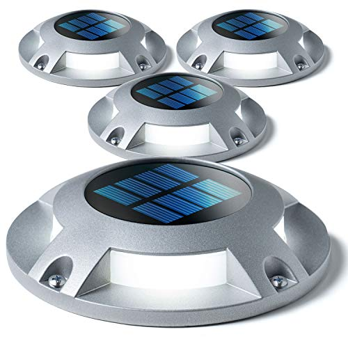 Home Zone Security Solar Deck Lights - Outdoor Solar Dock and Driveway Path Lights, Weatherproof with No Wiring Required, Silver (4-Pack)