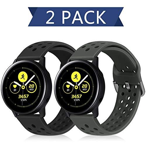 Runostrich 22mm Silikon-Schnellwechselarmband, Ersatz-Uhrenarmbänder Kompatibel mit Galaxy 46mm, Gear S3 Frontier/Classic, Fossil Gen 5/Herren/Damen Gen 4 (22mm, Schwarz+Dunkelgrau)