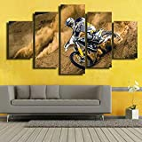 WUHUAGUO Cuadro sobre Lienzo - 5 Piezas - Impresión En Lienzo Motocross Cuadro De Pintura Póster De Arte Moderno Oficina Sala De Estar O Dormitorio 150X80Cm