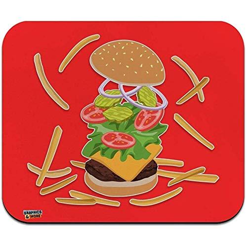 Burger en frietjes met Sla Kaas Tomaten en Pickles Laag Profiel Dunne muismat Mousepad