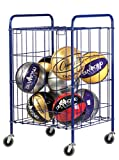 Champion Sports Portable Ball Cart with Lockable Hinge Cover - Sports Equipment Storage Locker with Caster Wheels - Ball Organizer Holds 24 Sports Balls, Mobile Locking Ball Cage (Half Size)