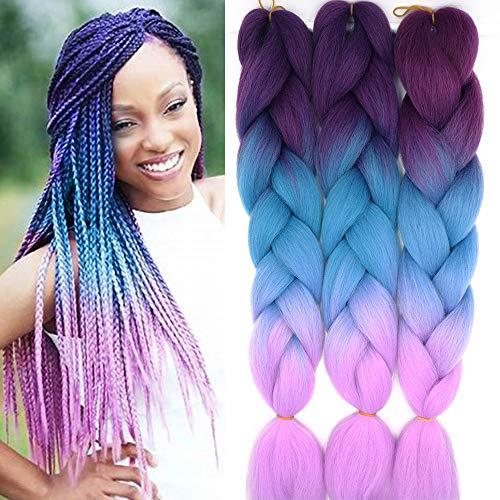 "24"" Braids Extensions Jumbo Braids Kunsthaar 3 Bündel Kanekalon Synthetik Crochet Hair Flechthaar Afro Box Braiding (Lila&See Blau&Helles Lila)"