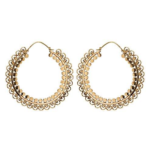 81stgeneration Frauen Gold Messing 60 mm Groß Indisch Gemustert Mandala Creolen Ohrringe