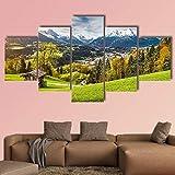 5-teiliger Kunstdruck auf Leinwand - Berglandschaft in den