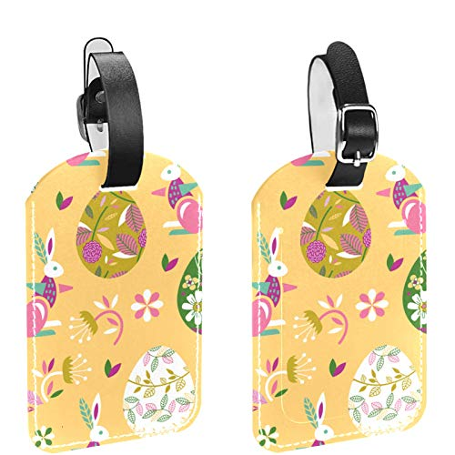 Luggage Tag Set of 2, His Hers Ours Travel Bag Tag, Suitcase Tag, School Bag Tag Rabbits and Easter Eggs
