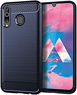 For Samsung Galaxy M30 Case rubber carbon pattern Brushed Slim soft tpu shockproof cover - Navy
