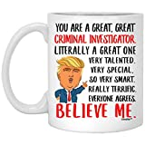 Grande idea regalo per gli investigatori criminali per idee di compleanno, divertente tazza per colleghi, regali di Natale per uomo e donna, tazza da caffè bianca 311,8 g