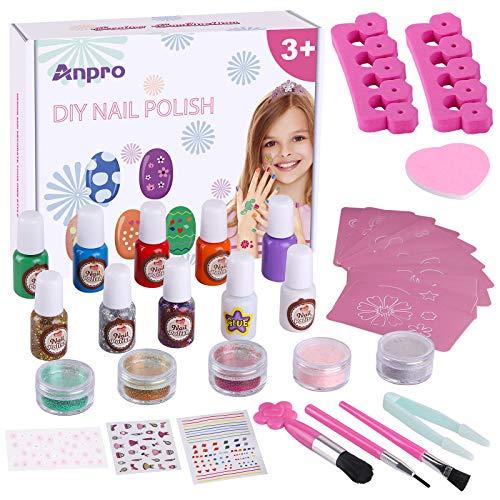 Anpro juego de esmaltes de uñas DIY, pegatinas de tatuajes temporales a juego, regalo creativo para niñas, kit de salón de uñas para niñas