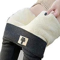 超厚手のカシミアウールレギンス、ファッション冬の女性のハイウエストパンツサーマルパンツ (Color : Gray -B, Size : L)