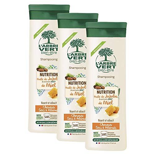 L'arbre vert Shampooing Nutrition pour Cheveux Secs/Abîmés 250 ml - Lot de 3