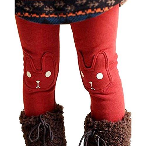 Collager Kids Girls Winter Warm Fleece Pants Cute Rabbit Printed Leggings (2-7Years)