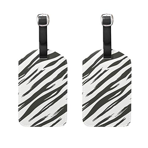 COOSUN Zebra Patroon Bagage Tags Reizen Labels Tag Naam Kaarthouder voor Bagage Koffer Tas Rugzakken, 2 PCS