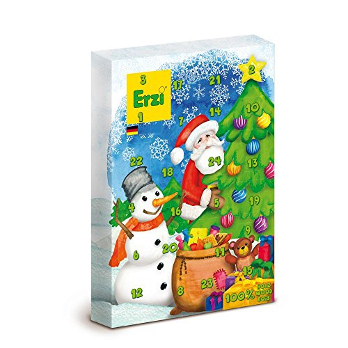 Erzi Adventskalender mit 27 Kaufmannsladen-Holzartikel und 1 Körbchen als Inhalt Version 2017