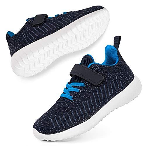 SOBASO Kids Sneakers Boys Girls Breathable Lightweight Tennis Athletic Running Shoes Navy 5 Big Kid